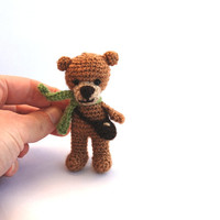 tiny bear, little brown bear, miniature crocheted bear. amigurumi tiny bear, love bear, teddy bear, wee brown bear