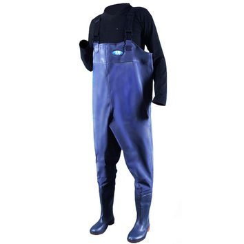 Webetop Men's PVC Fly Fishing Chest Waders Lightweight Waterproof Breathable Anti-Slip Wading Pants Overalls With Boots,Inner Pocket,Adjustable Shoulder Strap,Blue/Black