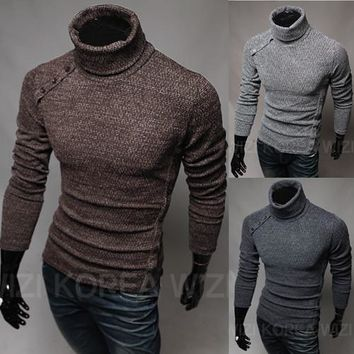 2016New Basic Style Men's Sweaters Turtleneck Knit Pullover Autumn Slim Fit Elastic Pull Homme Patterns Solid Brand Mens Sweater
