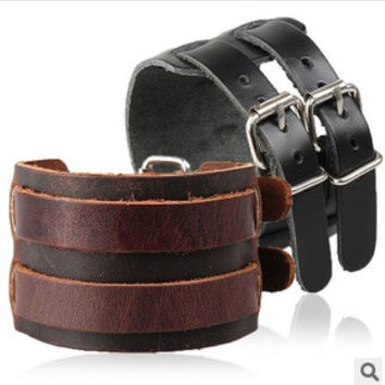 Real Leather Cuff  Women Leather Bangle Bracelet, Men Leather Cuff Bracelet, Unisex Leather Bracelet  F1633