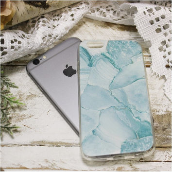 MARBLE iPhone 6, 6S stone design cell phone case - blue