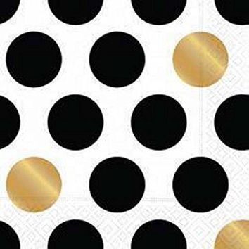 Kenzie Black White Gold Polka Dots Dinner Paper Napkins (16 pack)