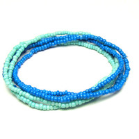 Seed Bead Stretch Bracelets, Set of 5, Blue and Aqua Green Stretchy Jewelry - Only One Available - Ready to Ship