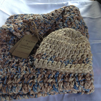 Crochet Tan, Blue, Cream Baby Blanket and Beanie Set