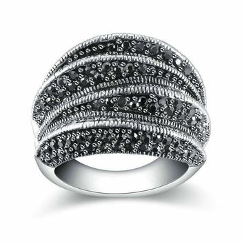 Twisted Black Marcasite Vintage Cocktail Ring