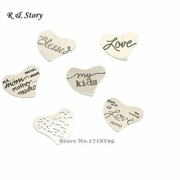 2015 newest design! Silver Mixed Curved Heart Stainless Steel Floating Locket Plates LFP_245