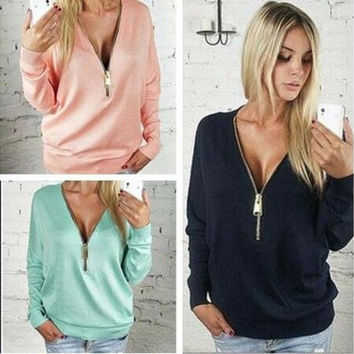 Fashion Explosion Models Sexy Deep V Bat Sleeve Zip Female Long-sleeved T-shirt Women  01-013