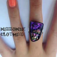 OOAK Pink Purple Dichroic  glass  Ring  adjustable ring, silver plated ooak 1 available pink    rainbow