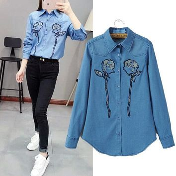 DCCKIX3 Stylish Long Sleeve Embroidery Denim Women's Fashion Shirt Blouse [4919013380]