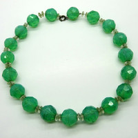 Green Glass Bead Choker, Vintage 1960s Necklace