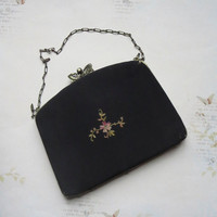 Antique French Black Silk Beauvais Evening Handbag with Tambour Floral Embroidery in Pink with Repousse Brass Frame, Butterfly Closure