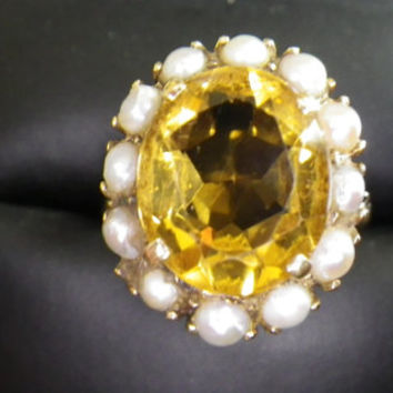 Beautiful 9ct Yellow Gold Citrine & Pearl Cocktail Ring