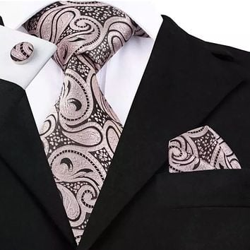 Men's Silk Coordinated Tie Set - Dark Pink and Black Paisley
