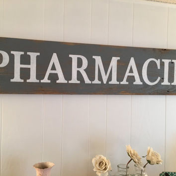 Handmade Barn Wood Pharmacie Sign As Seen On Fixer Upper Rustic Wall Decor Cottage Shabby Chic Wall Sign Vintage Barnwood Sign Personalized