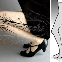new: Small/ Medium sexy Long Branches tattoo tights / stockings /  full length  / pantyhose / nylons ULTRA PALE