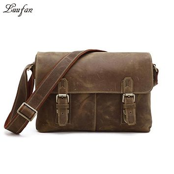 Men's Vintage genuine leather shoulder bag for book cowhide messenger bag real leather crossbody bag magnetic flap school bag