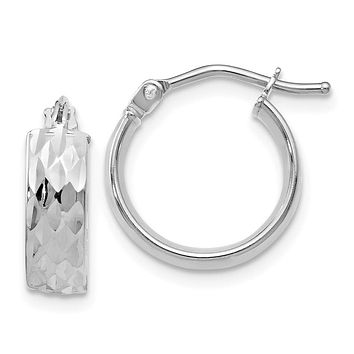Leslies 14k White Gold Polished and Diamond-cut Hoop Earrings