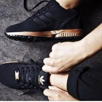 ESBONS ADIDAS ZX Flux Women Running Sport Casual Shoes Sneakers Black golden