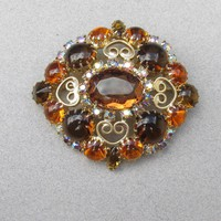 Big Glitz Juliana D & E Amber Glass & AB Rhinestone Heart Scroll Work Pin