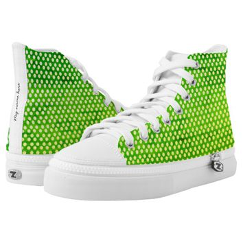 Green spotted design High-Top sneakers