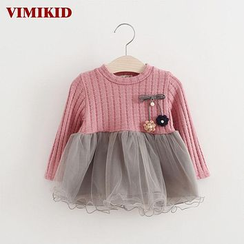 VIMIKID 2017 new Spring and Autumn long sleeve for girls Sweater Corsage yarn baby girls dress kids clothes Children's clothing
