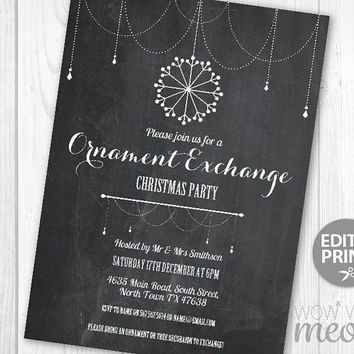 Christmas Party Ornament Exchange Invitations Snowflakes Holiday Season Invites Chalk INSTANT DOWNLOAD Jingle Mingle Printable Snow Editable