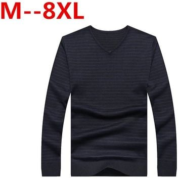 9XL 8XL 7XL 6XL 5XL Ali Casual Sweater Men Pullovers Brand winter Knitting long sleeve v-Korean Slim Neck slim Knitwear Sweaters
