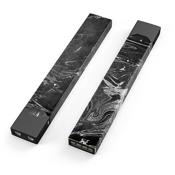 Skin Decal Kit for the Pax JUUL - Black & Silver Marble Swirl V8