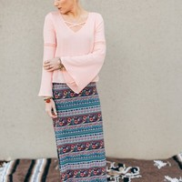 Cross Over Rose Peasant Top
