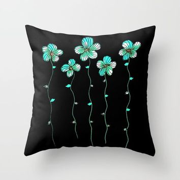 Green Flowers Throw Pillow by ES Creative Designs