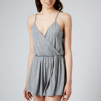 Wrap Jersey Playsuit - Grey Marl