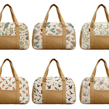 Women's Water Color Tropical Beige Printed Canvas Duffel Travel Bags WAS_19