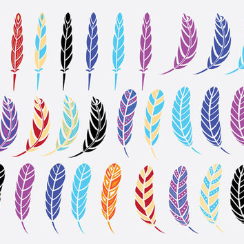 Feather Clip Art Images, 28 digital feathers, scrapbooking, card making, graphic design, crafts, birthday, gift tag, feather clipart, diy