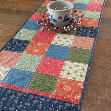 Quilted Table Runner, country table runner, 46 x 16, patchwork, block pattern, assorted country print fabrics, red, blue, green, beige, rust