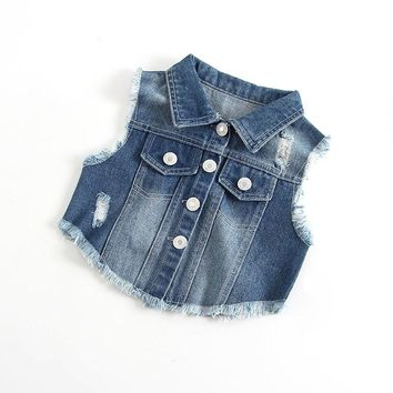 New 2018 Autumn Spring Kids Denim Vest Sleeveless Toddler Girls Boys Jeans Waistcoat Jackets Infant Baby Girls Vest RT044