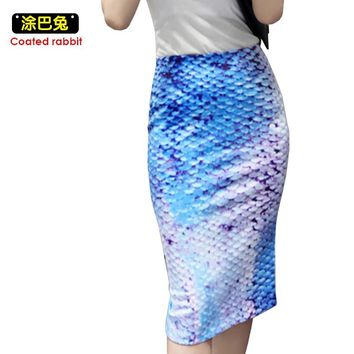 Fashion Womens High Waist Pencil Skirt Sexy Mermaid print Skirt Wear to Party Casual Bodycon Fitted knee-Length summer