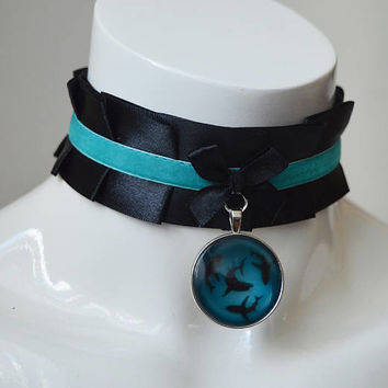 Collar - Shark waters -  ddlg mmlb ddlb - sissy little boy or girl - black and blue - lolita gothic mermaid choker necklace with velvet
