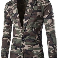 jeansian Men's Fashion Camo Cotton Slim Jacket Coat Blazer 9356