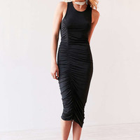 Silence + Noise Slinky Satin Cinch-Side Midi Dress - Urban Outfitters