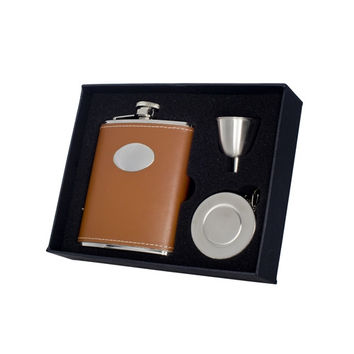 Visol Bobcat Leather Stellar Hip Flask Gift Set  - 6 oz