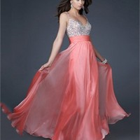 Gorgeous A-line Spaghetti Straps V-neck with Beadings Chiffon Floor Length Prom Dress PD11027