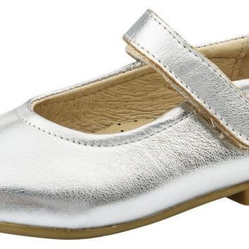 Old Soles Girl's Brule Sista Leather Mary Janes, Silver