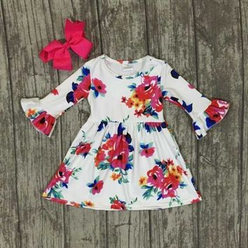 fall/winter baby girls milk silk soft cotton dress white floral flower ruffle long sleeve children clothes boutique match bow