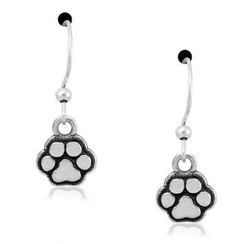 STERLING SILVER TINY TOT PAWS DAINTY DOG PAW PRINT DANGLE EARRINGS