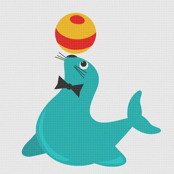Contemporary Circus Seal Balancing a Ball Hand Embroidery Pattern