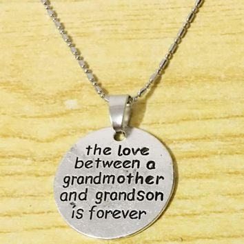 The Love Between A Grandmother And Grandson Is Forever Necklace Hand Stamped Gift For Her Grandma Grandson Jewelry Grammy