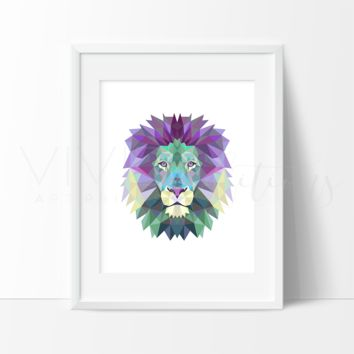 Geometric Low Poly Lion Head