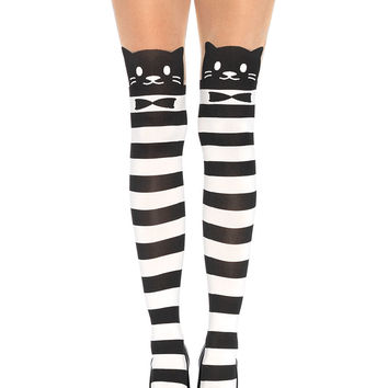 Fancy Cat Striped Illusion Pantyhose