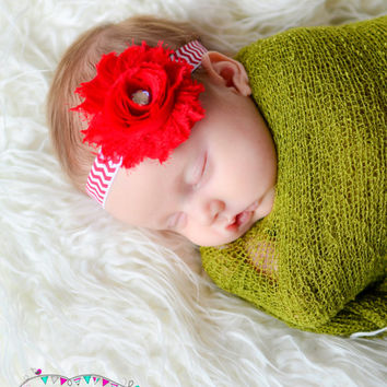 Christmas headband, Newborn Headband, babys 1st christmas, Holiday Headband, Red headband, Chevron headband, Hairbow