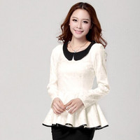 2016 Autumn Women blouse New fashion Rufffles ladies lace shirt doll collar Slim long-sleeved Casual lace jacquard lace Tops